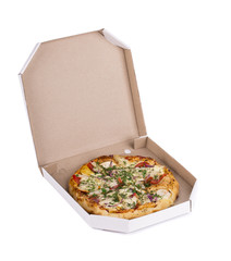 Tasty pizza in box.