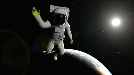 The astronaut against the Earth