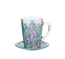 Glass cup with painted floral ornament.