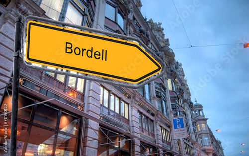 canvas print picture Strassenschild 23 - Bordell
