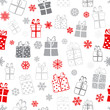 Seamless pattern of gift boxes, red and gray on white