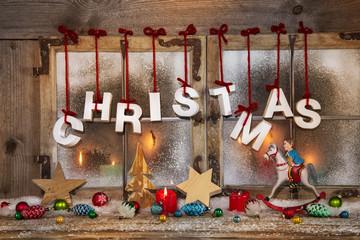 Weihnachten bunt mit Kerzen und Holz: Weihnachtskarte Text