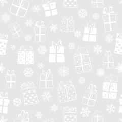Seamless pattern of gift boxes, white on gray