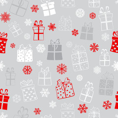 Seamless pattern of gift boxes, red and white on gray