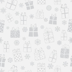 Seamless pattern of gift boxes, gray on light gray
