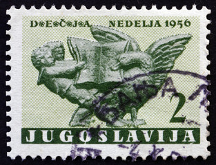 Postage stamp Yugoslavia 1956 Children and Goose