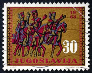Postage stamp Yugoslavia 1963 Horseback Trio, Split Cathedral