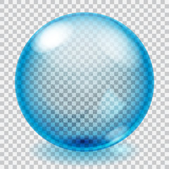 Transparent blue glass sphere with scratches