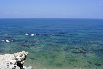 Shallow water of Mediterranean sea beach near Apollonia