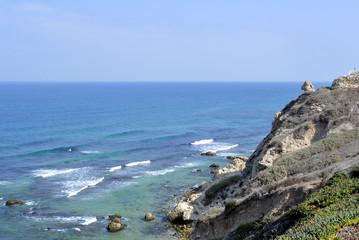 Ancient ruins of Apollonia at Mediterranean seaside.