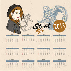 Vector template design - Calendar 2015 with hipster girl
