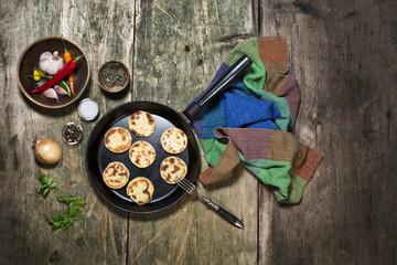 potato pancaces on the cast iron pan