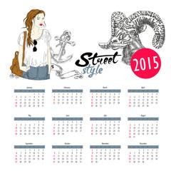 Vector template design - Calendar 2015 with hipster fashion girl