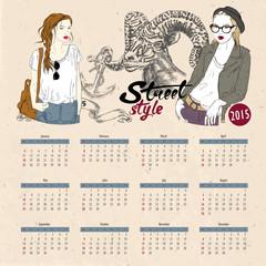 Vector template design - Calendar 2015 with hipster woman