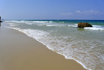 Calm sand beach at Mediterranean sea coast near Tel Aviv