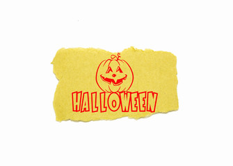 Halloween text on brown paper with white background