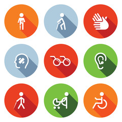 Disability flat Icons Set