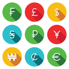 Currency flat icon set