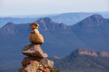 Stone cairn on top of Mount William, Grampians