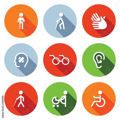 Zestaw ikon płaski niepełnosprawności