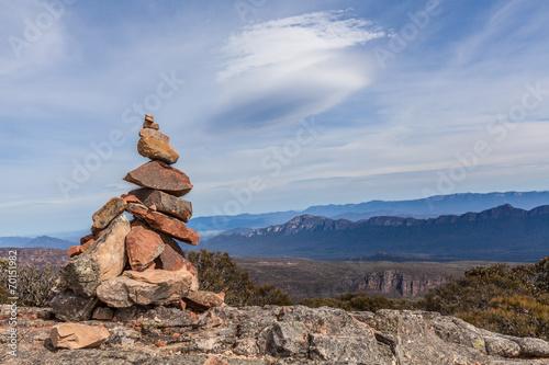 Leinwanddruck Bild Stone cairn on top of Mount William, Grampians