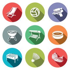 Recreation flat icon set