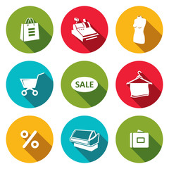 Shopping flat icons collection