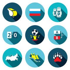 Soccer game flat Icons set