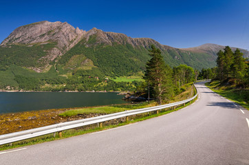 Highway in Norwegian scenery