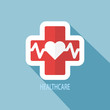 Obrazy na płótnie, fototapety, zdjęcia, fotoobrazy drukowane : Heart pulse icon, Flat design style. Vector.