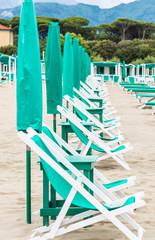 Beach with umbrellas on Versilia, Tuscany, Italy