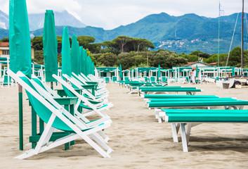 Beach with umbrellas,Forte dei Marmi, Versilia, Tuscany, Italy