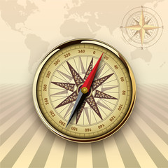 Travel background with compass, retro vector design.