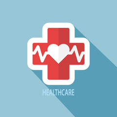 Heart pulse icon, Flat design style. Vector.