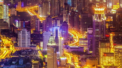 Aerial night view of  Shanghai China.(Panning time-lapse)