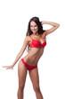 Studio shot of happy skinny woman in red lingerie - 70153507
