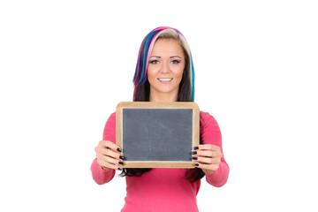 junge Frau mit Schultafel