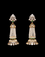 Close up of pearl and diamond earring