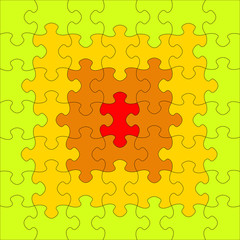 Puzzles different colors. In the center of a red puzzle. Raster