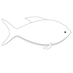 Icon white fish. Raster