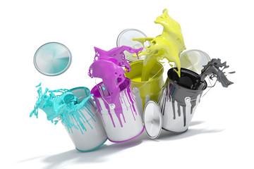 Farbeimer spritzen CMYK Farben
