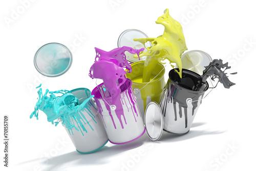 canvas print picture Farbeimer spritzen CMYK Farben