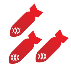 bombs with a triple x sign