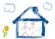 canvas print picture - Familie mit Haus