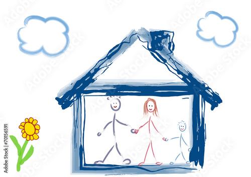 canvas print picture Familie mit Haus