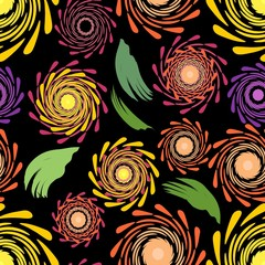 Seamless floral patterns on the dark background