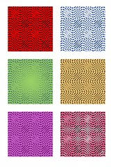 A set of six tiles with wave patterns