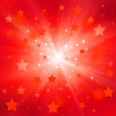 red christmas and new years stars on red background