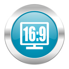 16 9 display internet blue icon