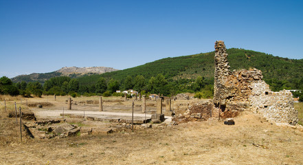 Ammaia roman city square and Marvao on background